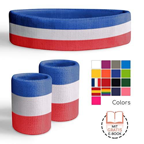 Freshkeychain Premium Schweißband Set - rutschfestes Stirnband und 2 hochwertige Schweißbänder für's Handgelenk - Dein 3er Vorteilspack + Kostenloses gratis E-Book (rot/blau/weiß)