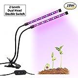 LED Doppelkopf Pflanzenlampe, GLIME 18W dimmbare...