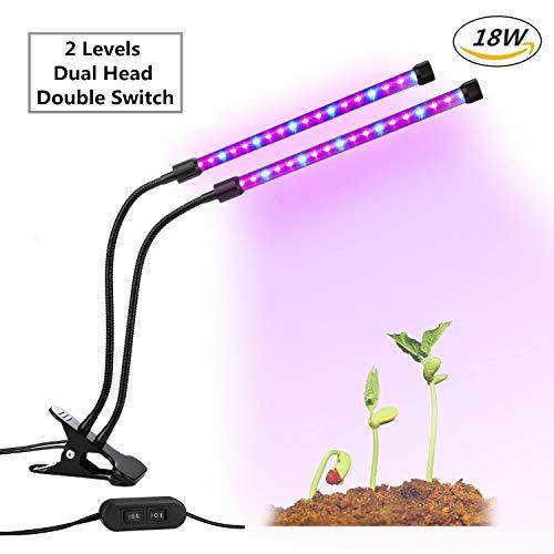 LED Doppelkopf Pflanzenlampe, GLIME 18W dimmbare Pflanzenleuchte, 360 Grad einstellbar...