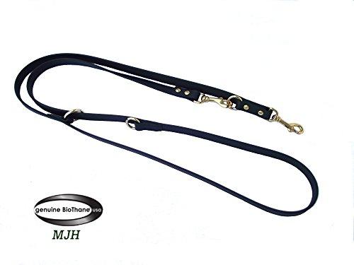 MJH-Führleine Super Heavy BioThane-3fach verstellbar schwarz 2,30m/13mm,Messing Beschläge, vernäht, Hunde ab 15kg