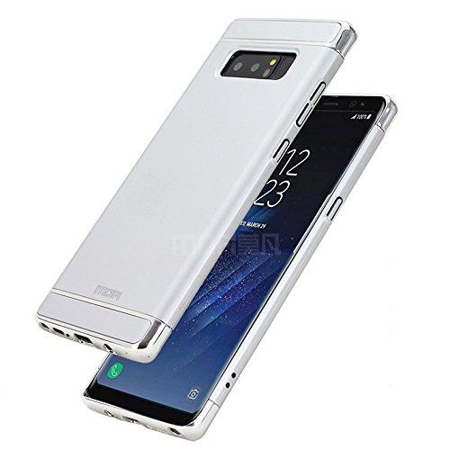 Samsung Galaxy Note 8 Hülle - Meimeiwu Elektroplattierter Kappen mit einer Matter Oberfläche 3-Teilige Styliche Extra Dünne Harte Schutzhülle Case für Samsung Galaxy Note 8 - Silber Silber