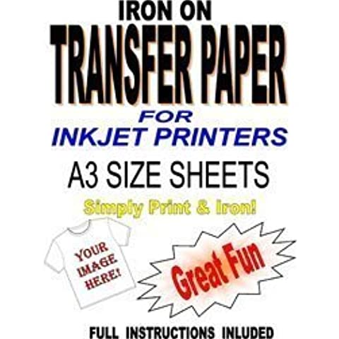 Papel de Transferencia Imprimible de Inyección de Tinta por Planchado sobre Camiseta & Tela - Para Telas Ligeras - 20 Hojas