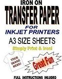 Jet d'encre imprimable Fer Sur T-Shirt et papier de transfert de tissu pour tissus léger 10feuilles A3