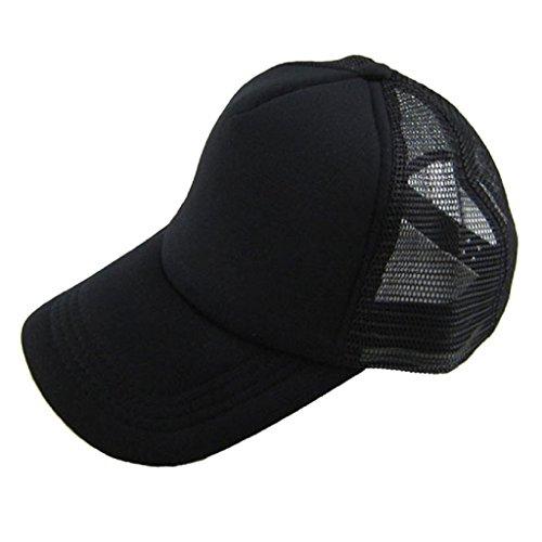 Berretto baseball Familizo Unisex cappello casuale Baseball Cap Trucker Solid Mesh Cappello Tongue vuoto visiera regolabile anatra (K)