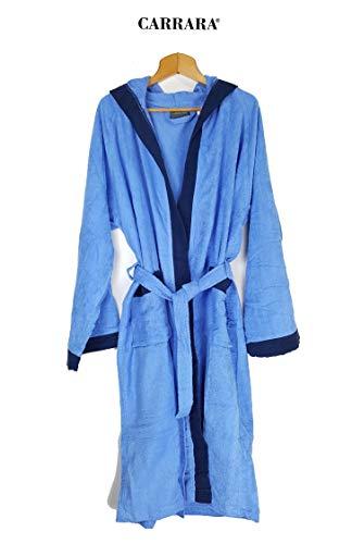 Carrara Bademantel für Damen mit Kapuze aus Reiner Baumwolle (hellblau Größe S/M)
