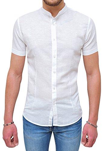Evoga camicia uomo sartoriale in lino bianca maniche corte casual (xl)