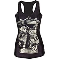 Molly Sexy Donne Digitale Stampato Camicetta T-Shirt Gilet Tops FreeSize Cat