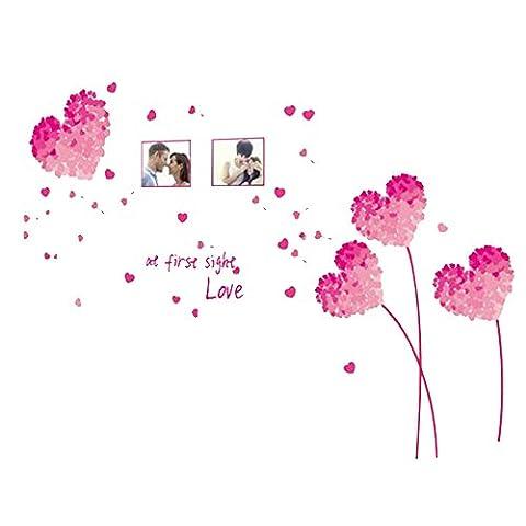 Pingenaneer Amovible Stickers Muraux / DIY PVC Autocollant Art Décoration Réutilisable pour Chambre des enfants(Coeur d'amour