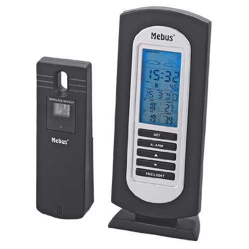 Mebus 40222schwarz Digitale Wetterstation–WETTERSTATIONEN Digitale (Monochrom, schwarz, 78mm, 66mm, 188mm)