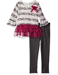 8e609d4c0 Little Lass Girls' 2 Pc Striped Knit Legging Set