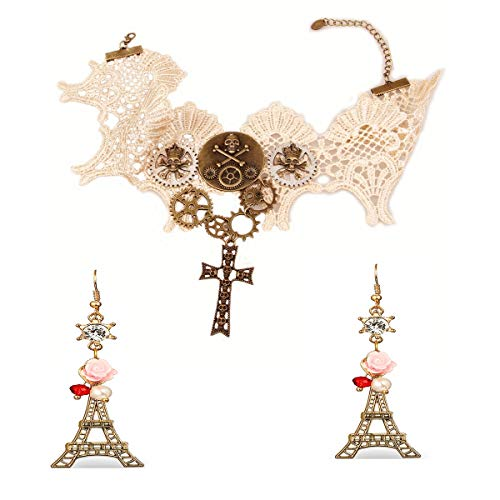 Kostüm Party Pariser - MLSJM Damenschmuck Sets, Retro Steampunk Getriebe Schädel Spitze Choker & Paris Turm Kristall Perle Rose Ohrringe, Halloween Kostüm Party (2 STK.)
