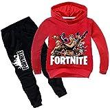 2 قطعة/مجموعة ملابس قطنية للأطفال في الخريف من فورتنايت للأطفال، بما في ذلك سترة ذات أكمام طويلة حمراء وبنطلون أسود