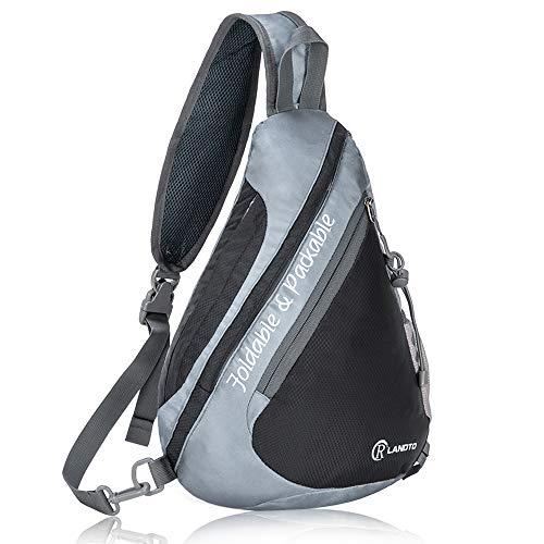 R LANDTO Faltbar Brusttasche Sling-Tasche Rucksack, Dreieck Crossbody Bag Umhängetasche Wasserdicht, Wandertasche Fahrradrucksäcke für Tagesausflüge, Damen und Herren (Schwarz)