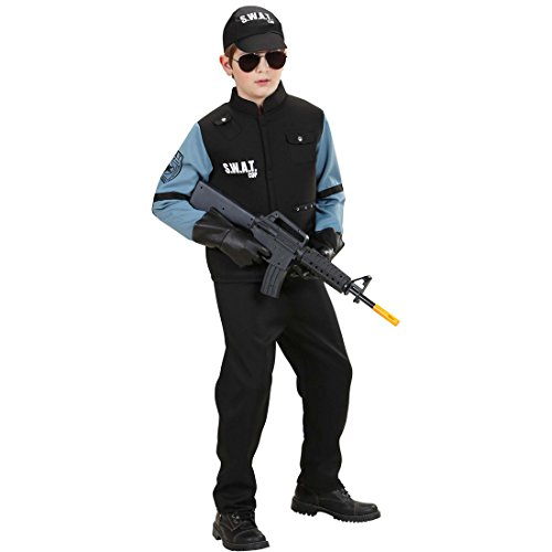 DISFRAZ POLICIA CHICO TRAJE SWAT NIñO M 140 CM AñOS 8 - 10 CARACTERIZACION UNIDAD ESPECIAL FIESTA TEMATICA POLICIAL ATUENDO CARNAVAL AGENTE VESTIMENTA INFANTIL CUERPOS DEL ORDEN