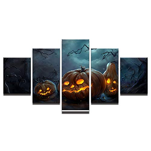 ZHANGWLH Wanddekorationsmalerei mit fünf Platten HD Druck Leinwand Halloween Malerei Modulare 5 Panel Bild Wandkunst Drucke Panels Poster Für Wohnzimmer