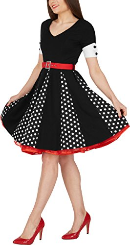 BlackButterfly 'Kelly' Vintage Polka-Dots Swingkleid (Schwarz, EUR 48 - 3XL) -