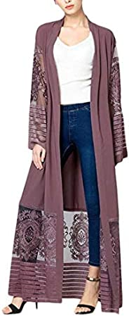 GRMO Women Lace Up Cardigan Coat Middle East Mesh Embroidery Stylish Abaya Kaftan Maxi Dress
