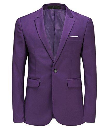 MOGU Herren Anzugjacke Lila Anzug Party Smoking Slim Fit Größe 44 (Asian Lable XL) Lila
