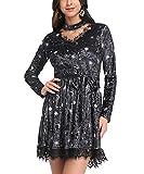 YTJH modische Damen Bodycon V-Ausschnitt Langarm Knielanges Kleid, Choker gespleißt Lace-Velvet-Kleid mit Spitzenbesatz aus Veloursleder (Schwarz, XL)