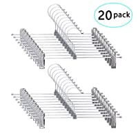 Supmaker Trouser Hanger,Stainless Steel Space Saving Clothes Hangers,Strong Chrome Skirt Coat Pants Hangers with Non-Slip Clips,Pack of 20