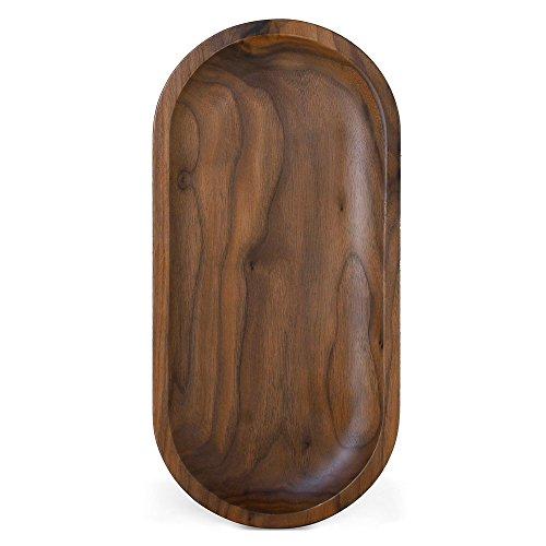 Ecloud Shop® Holz Serviertablett, Dekorative Tabletts, Serving Platters für Tee Kaffee Wein, Premium Qualität, leicht zu Waschen, Oval - Black Walnut (mittlere Größe)