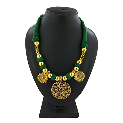 Handmade Gold Platine Flower Style Necklace in Green Thread for Girls/Women in Choker Patterns by D9 Creation