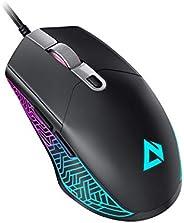 AUKEY Scarab Mouse Gaming [Leggero 75g] Sensore Ottico da 7200 DPI, Mouse da Gioco con Cavo Mouse da Gioco Fil