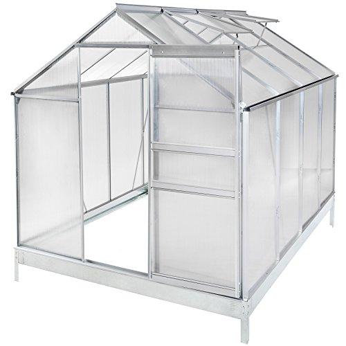 TecTake Serre de jardin aluminium polycarbonate tente abri légume plante - diverses modèles - (250x190x195cm + fondation | No. 401829)