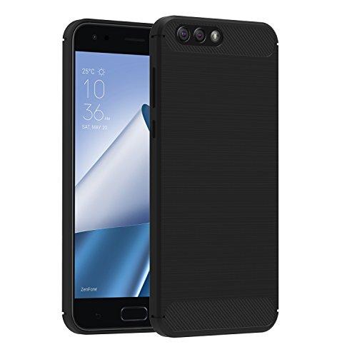 Cover Asus Zenfone 4 ZE554KL 5.5'', iVoler Nero Custodia Asus Zenfone 4 ZE554KL [Slim Anti Scivolo] [Massima Protezione Da Cadute e Urti] [Fibra di Carbonio] Protezione Posteriore Soft TPU Case Cover per Asus Zenfone 4 ZE554KL 5.5'' - 24 Mesi di Garanzia