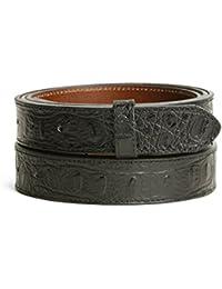 VaModa Ceinture en cuir, empreinte crocodile Haydock, couleur noir, 3cm, sans boucle
