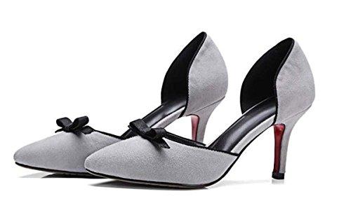Beauqueen Scarpin Mädchen Frauen Pumpe Casual PARTY SCHUHE Low Heel Elegant Schuhe Europa Größe 34-39 Grey