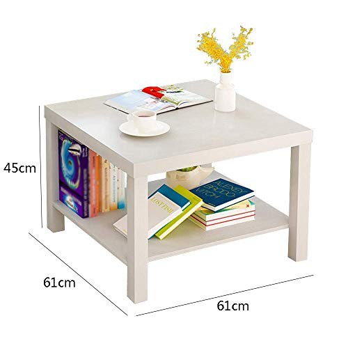 YueQiSong Modern Minimalist Living Room Sofa Side Table Small Coffee Table Living Room Dining Room Small Table, White, 61 * 61 * 45cm