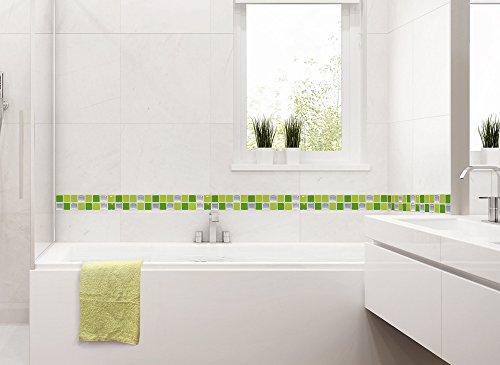 7 pezzi set 25,3 x 3,7 cm adesivo per piastrelle verde chiaro verde ...