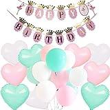PuTwo Rosa Blau Weiß Luftballons 46 Stück Luftballon Türkis Luftballons Rosa Luftballons Weiß Latexballons Folienballon für Unicorn Party Mädchen Geburtstag Baby Shower - Pastell Luftballons
