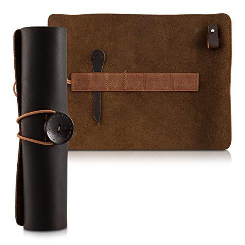 kalibri Portacarte in pelle astuccio Roll Up - vera pelle portamatite portapenne astuccio per matite, pennelli, cavi e adattatori in colore marrone scuro