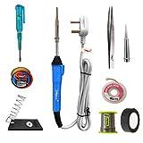 Hillgrove 9in1 25W Soldering Iron, Tweezer, Iron Stand, Soldering Paste, Soldering Wire, Desoldering
