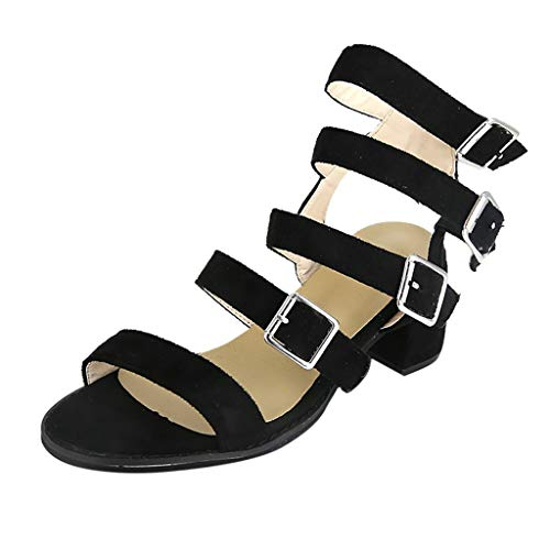 friendGG Womens Low Block Buckle Strap Sommer Sandalen Open Toe Schuhe Quadratische Ferse Sandalen Damen Gladiator Thin Straps Stilettos High Heels Elegante Sandalen Party Sandals Nina Open Toe Pumps