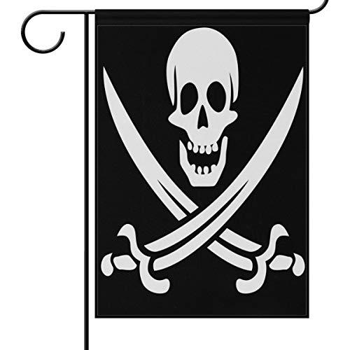 Jolly Roger Totenkopf-Flagge für den Garten, 30,5 x 45,7 cm, gekreuzte Schwerter, klein, dekorativ, doppelseitig, für Urlaub, Hochzeit, Party, Zuhause, Außendekoration, Textil, multi, 28x40(in) -