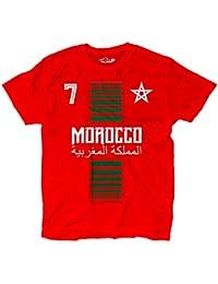 KiarenzaFD Camiseta T-Shirt Hombre Nacional Deporte Morocco Marruecos Maroc 7 Futbol Deporte Africa Stella