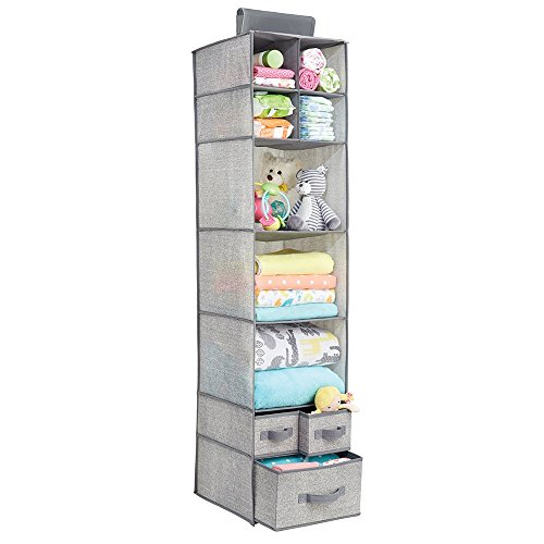 MetroDecor mDesign Fabric Baby Nursery Closet Organizer for Stuffed Animals, Blankets, Diapers - 7 Shelves and 3 Drawers, Gray