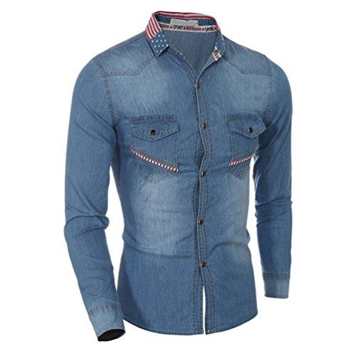 ZhiYuanAN Uomo Camicia Di Jeans A Maniche Lunghe Taglia Larga Giacca Di Jeans Cuciture Del Colletto Casual Selvaggia Denim Shirt Blu chiaro