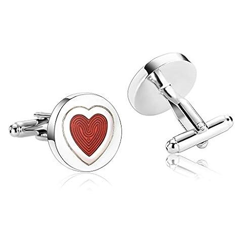 Bishilin Stainless Steel Cufflink Men | Women Silver Red Heart Tuxedo Shirts Cuff Links Wedding Business