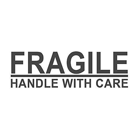Fragile, Griff mit voreingefärbter, Office Gummi Stempel (# 760607-e), Stil E Large size (58 x 18mm) rot