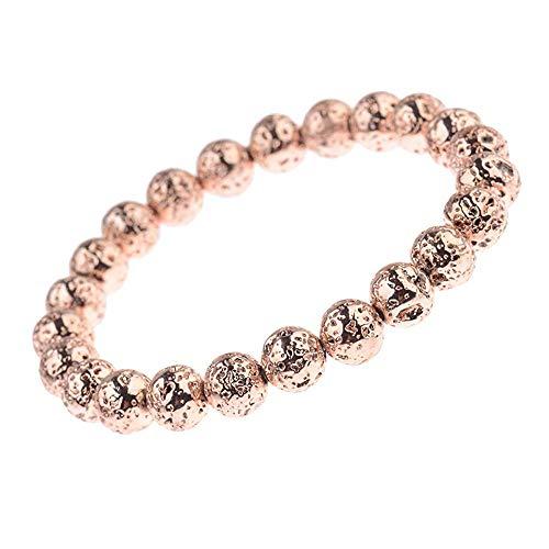 Pietra vulcanica splendidamente colorata, braccialetto moda personalizzato con perline, orologio intrecciato, oro rosa 19 * 0,8 cm gfd