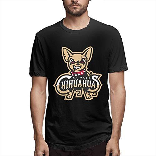 Men Top Shirts EL Paso Chihuahuas Shirts Cotton Tops for Running,Black,L