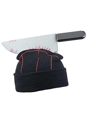 Mr.Giggelz Halloween-Mütze - blutiges Messer im Kopf