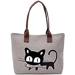 Malloom®nuevo moda mujer bolsa de hombro lona lindo gato bolso oficina bolsa del almuerzo (gris (grey))