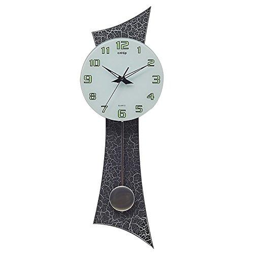 Mute Horloge Murale En Bois De Style Européen Salon Décoration (10 Pouces) (Couleur : Cracked paint (luminous))