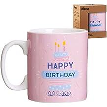 Lama Mug XXL Happy Birthday, Cerámica, Rosa, 13x10x12 cm