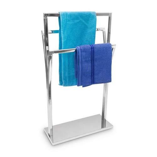 Relaxdays Handtuchständer geschwungen H x B x T: ca. 86 x 50 x 20 cm freistehender Handtuchhalter in Edelstahl-Optik mit 3 Handtuchstangen als Badehandtuchhalter und kleiner Kleiderbutler, silber